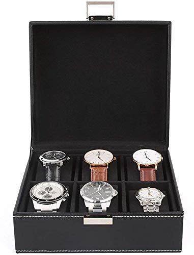 FEMOR Caja para Relojes Estuche para Guardar Joyerías Soporte de Exhibición de Relojes Pulsera PU Negro 6 Compartimentos 2x3 Almohadillas Negro: Amazon.es: Hogar