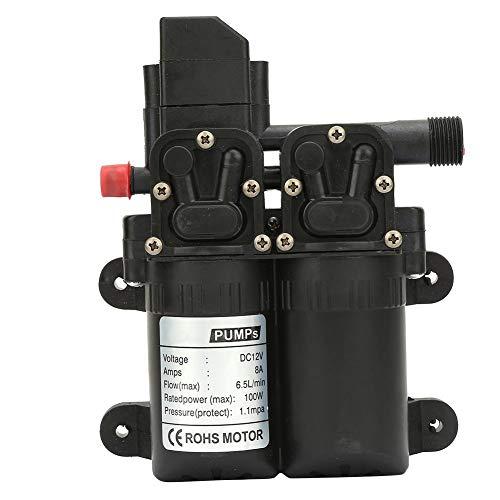 Pompa autoadescante, pompa acqua ad alta pressione a doppia membrana con pompa a diaframma 12V 100W per la pulizia di roulotte, barca, auto, ecc.(Nero)