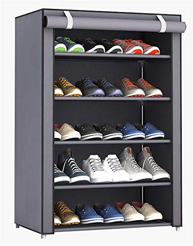 Insun Étagère à Chaussures en Métal Armoire à Chaussures Non Tissée épaissie Aanti-Poussière 5 Niveaux 60 × 30 × 90cm Gris Argenté