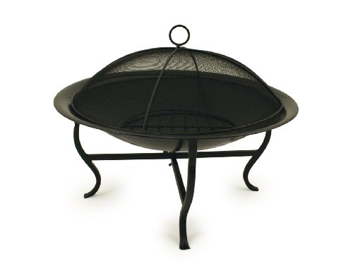 Charles Bentley Round Outdoor Garden Patio Fire Pit Heater Open Bowl - Racking for Charcoal/Wood in Black - 56cm