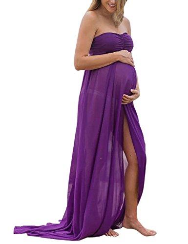 KOJOOIN Damen Elagant Umstandskleid Off Schulter Chiffon Schwanger fotoshoot Festlich Lange Schwangerschafts Kleider Lila XL(Verpackung MEHRWEG)