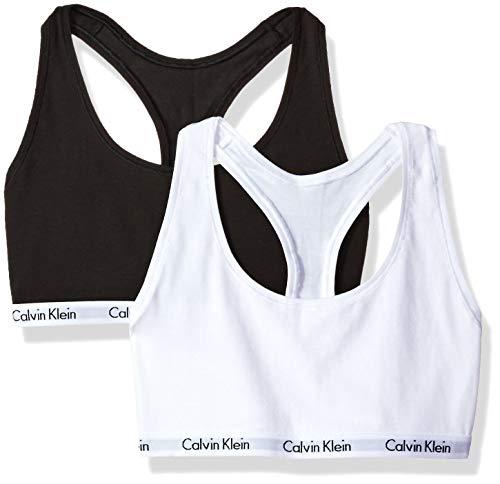 Calvin Klein Women's Carousel 2 Pack Bralette, Black/White, S