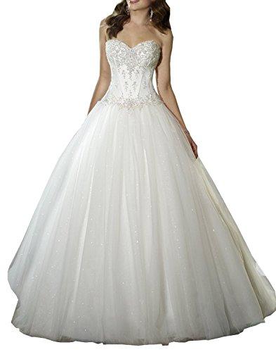 JAEDEN Prinzessin Brautkleider Hochzeitskleider Lang Damen Tüll Spitze Herzausschnitt Elfenbein EUR44
