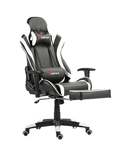 Morfan Gaming Chair New Sixe with Footrest and Rocking Function Swivel Racing Style PU Leather Sports Chair (White) chair footrest gaming