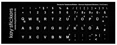 Keystickers Deutsche Tastaturaufkleber für PC oder Laptop (11x13mm), schwarz, matt, QWERTZ