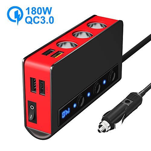 SONRU Auto Verteiler QC 3.0, 3 Fach 180W 12V / 24V KFZ Zigarettenanzünder Verteiler Adapter und 4 USB Steckdose mit Getrennte Schalter LED Stromspannung Anzeige für Telefon iPad Tablet GPS usw. Rot
