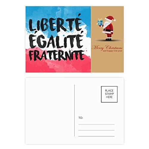 Liberte Egalite Fraternite Frankrijk Mark Vlag Kerstman ansichtkaart Set Thanks Card Mailing 20 stks