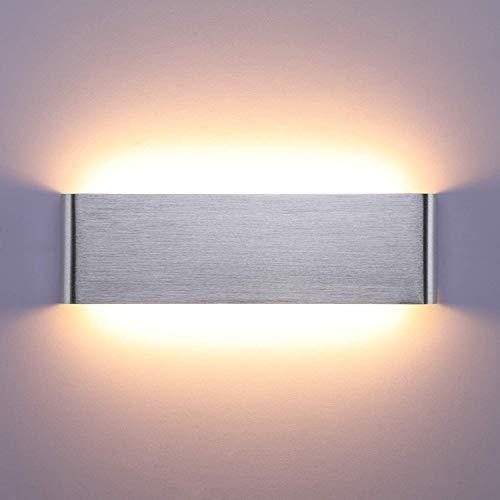 Lightess LED Wandleuchte Innen 16W Treppenhaus Lampen Moderne Wandlampe Silber mit Up Down Licht IP44 aus reinem Aluminium für Wohnzimmer Schlafzimmer FlurTreppen usw, Warmweiss