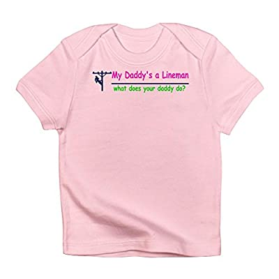 CafePress My Daddy is A Lineman for Gir Infant T Shirt Cute Infant T-Shirt, 100% Cotton Baby Shirt Petal Pink
