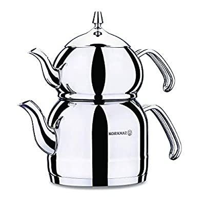 Korkmaz Efendi Turkish Tea Pot Set for Stove Top, Stainless Steel Teapot Set with Heat Resistant Stainless Steel Handles, Samovar Style Tea Kettle, 3.7 qt