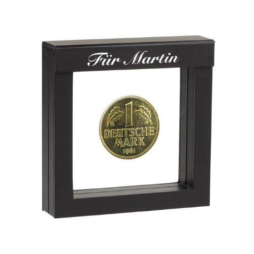 1 DM-Münze 1950 vergoldet - mit Ihrer persönlichen Gravur auf dem Schwebe-Rahmen