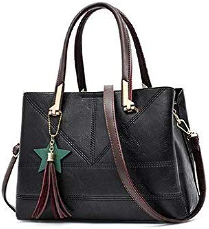 Bloomerang Fashion PU Leather Shoulder Bag Ladies Autumn Handbags Famous Brands Women Black Saffiano Tote Bag New Casual Women Bag color Black 32cm