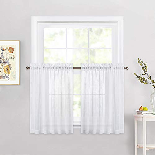 NICETOWN Linen Textured Translucent Sheer Tiers - White Half Window Valances Semitransparent Voile Panel Drapes for Kitchen/Cafe, 52 inches Wide x 36 inches Long, Sold by 2 Pieces
