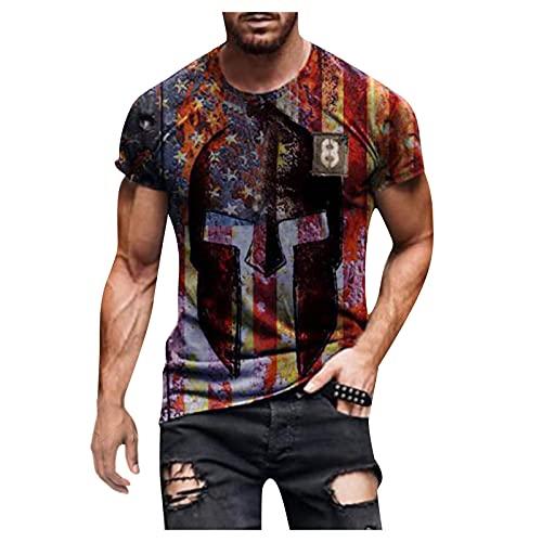 Camiseta para Hombre Casual Moda Manga Corta Estampado Retro Top Primavera/Verano Cuello Redondo Sudadera