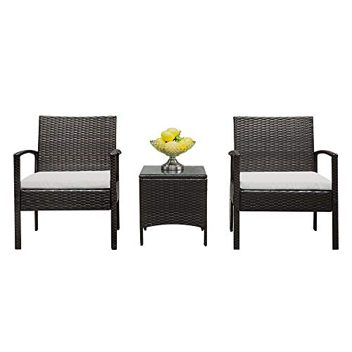 Bonnlo 3 Pieces Rattan Outdoor Garden Furniture Set Patio Conversation Set with Coffee Table, All-Weather Rattan Chair Patio Wicker Sofa Set for Yard,Pool or Backyard