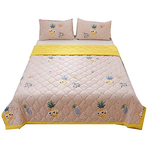 QQSM Edredón de verano de algodón lavado, estampado suave, agradable a la piel, algodón lavado de verano, colcha para aire acondicionado, para adultos, sofá, dormitorio, siesta, piña 200 x 230 cm