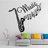 BailongXiao Creativo trombón Instrumento Musical Pegatinas de Pared Dormitorio Infantil Vinilo removible Moda música Tatuajes de Pared Autoadhesivo Papel Tapiz 87x93cm