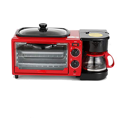 Estación de desayuno 3 en 1 de tamaño familiar, mini horno eléctrico, tortilla de café, tostadora para hacer pan, horno de 9 litros, cafetera de 0.6 litros, se puede usar para tostadas, tortilla,