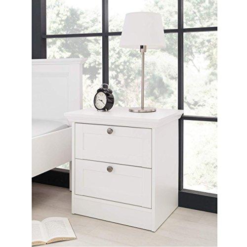 moebel-dich-auf Stockholm Landhaus Nachttisch in weiß