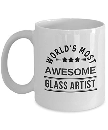 Cukudy rolig glaskonstnär kaffemugg gåva - Worlds Most Awesome - bästa målat glas konst glas mugg