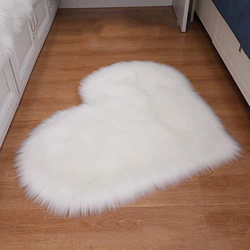 ZXXY Alfombra de Piel Artificial, Alfombra de Alfombra esponjosa en Forma de corazón en la Alfombra de Piel Artificial de la Oficina del Dormitorio en casa - Blanco