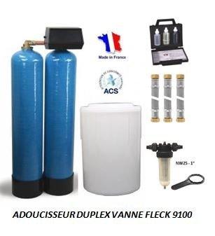 Adoucisseur d'eau duplex 2x50L fleck 9100 complet
