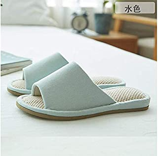 日本産の畳の中のスリッパの男性&女性、夏季、亜麻、家庭用スリッパ、室内、静音、床、滑り止め、家庭用、綿麻布、カップル、柔らかい底、スリッパ、 (水色,24.5)