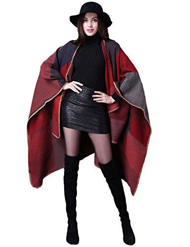 ADOMI Women's Winter Elegant Reversible Oversized Blanket Poncho Cape Shawl Cardigans Red-3