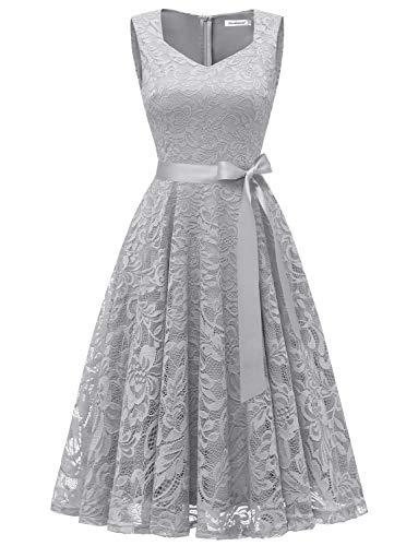 Gardenwed Damen Elegant Spitzenkleid Strech Herzform Abendkleid Cocktailkleider Partykleider Grey XL