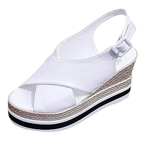 showsing-schoenen Womens Wiggen Sandaal Open teen Enkel Band Trendy Lederen Platform Sandalen Flats Dames Enkel Dikke Onderste Bandjes Gesp Romeinse Sandalen