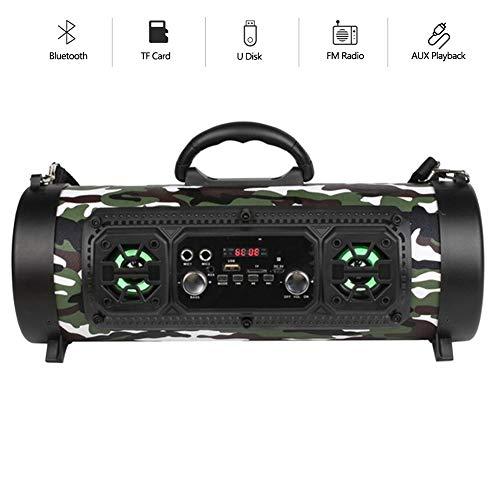 Speaker-EJOYDUTY Hallo-Fi stereo auto subwoofer, beweegbare draadloze Bluetooth 15W-luidspreker met FM-radio, 6H speeltijd, TF-kaart, AUX-ingang, U-disk luidsprekers, C