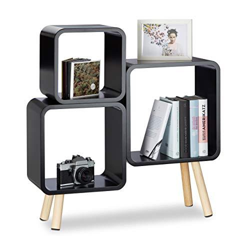 Relaxdays Regalsystem Cube mit 4 Beinen, Würfelregal im Retro Design, Bücherregal Holz, HBT: 70 x 67 x 20 cm, schwarz