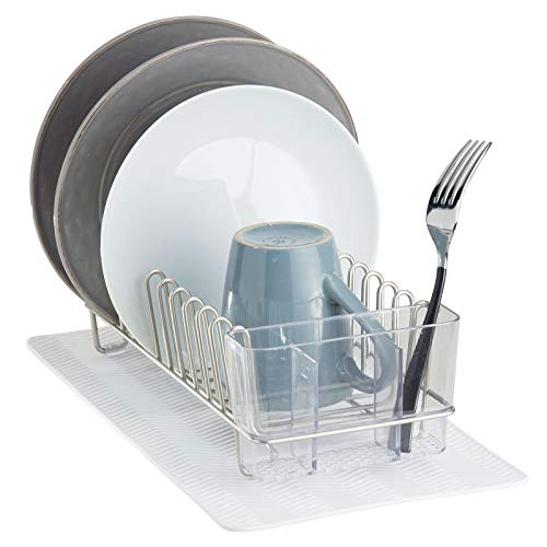 mDesign Dish Drainer — Cutlery Drainer with Slip-Proof Drip Tray — Sink Rack Drainer with Dish Mat Perfect for Cutlery, Glasses and Cup Drying — Satin/White