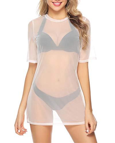 Hawiton Damen Transparent Netz Shirt Sexy Strandkleid Durchsichtiges Bikini Cover Up Sommertop Strandponcho Kurzarm Shirt Mesh Blusenkleid Party Oberteile, Weiß, S