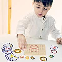Ulikey Carte di Pattern di Attività e Bande di Gomma Montessori in Legno, Legno Creativo Peg Bordo Giocattolo Tavola Ispira l'immaginazione e la creatività del Bambino #5