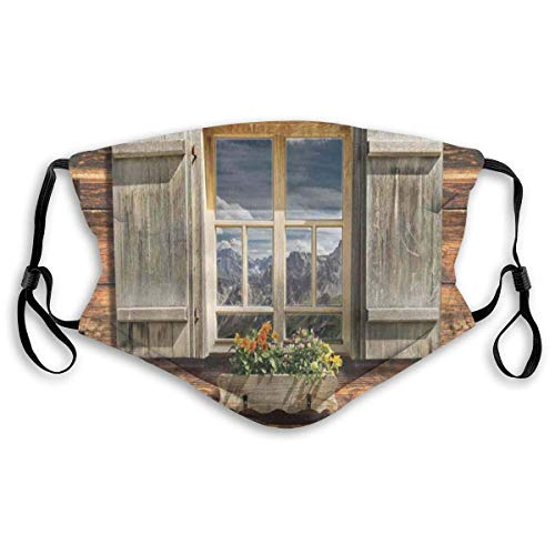 Windproof mask,Weathered Facade of A Mountain Hut with Summer Mountain Reflections On Window,Printed Facial Decorations,M