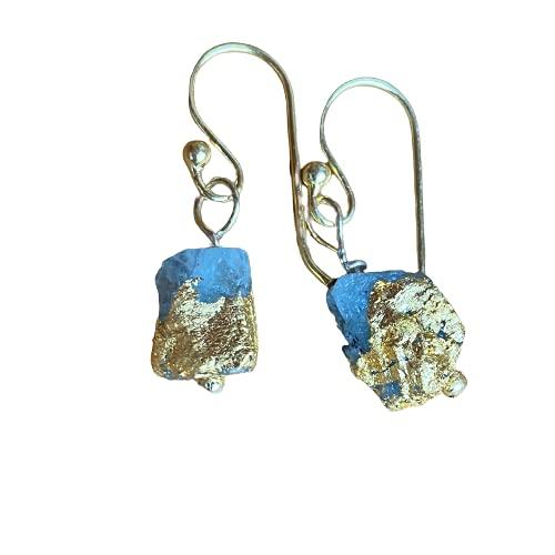 Ohrhänger Aquamarin Rohstein mit 24 Karat Gold platiniert, 925er Sterling Silber vergoldet