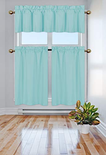 Elegant Home Collection 3 Piece Solid Color 90% Blackout Kitchen Window Curtain Set with Tiers and Valance Solid Thermal Room Darkening Drape Window Treatment # R3 MF (Light Blue)