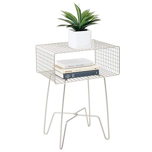 mDesign Modern Farmhouse Side/End Table - Metal Grid Design - Open Storage Shelf Basket, Hairpin Legs - Sturdy Vintage, Rustic, Industrial Home Decor Accent Furniture for Living Room, Bedroom - Satin