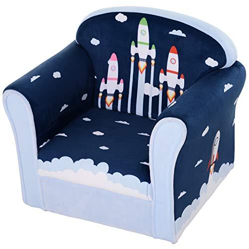HOMCOM Kindersessel mit Raketenmotiv, Minisessel, Kindersofa, Polstersessel für Kinder, Kindermöbel, ab 3 Jahre, Flanell, Blau, 50 x 39 x 44 cm