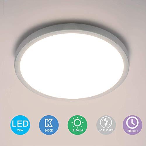 Yafido LED Deckenlampe Ultra Slim 24W 2160Lm UFO LED Panel 3000K Warmweiss LED Deckenleuchte für Wohnzimmer Schlafzimmer Flur Büro Küche Küche Balkon und Esszimmer Nicht-dimmbar Ø23cm