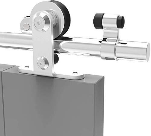 200CM/6.6FT Stainless Steel Sliding Barn Door Hardware Kit Track Roller Closet Accessory for Single Door T Shape
