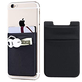 2Pack Adhesive Phone Pocket,Cell Phone Stick On Card Wallet Sleeve,Credit Cards/ID Card Holder Double Secure  with 3M Sticker for Back of iPhone,Android and All Smartphones-Black Double Pocket
