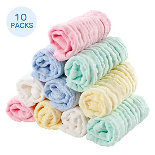 EXTSUD 10PCS Toallitas de Muselina para Bebés Toallas Suaves para Bebés, Recién Nacidos, Toallitas Algodón Orgánico, 25 x 25cm