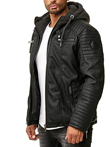 Red Bridge Hommes Veste en Similicuir Biker Casual Jacket à Capuche Mode Blouson,Noir,XL