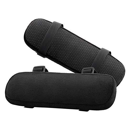 MoKo - Cojin para reposabrazos de Silla de Oficina, Espuma viscoelastica Suave para Codos y antebrazos, Color Negro (2 Unidades)