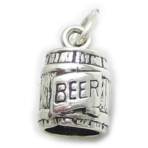 Fusto di Charm Ciondolo in argento Sterling .925x 1Bere Birra Barile sslp4056