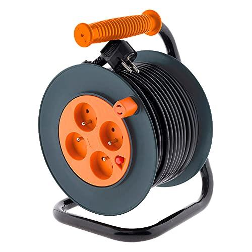 Enrouleur 4 prises HO5VV-F 3G1mm² 25m + coupe-circuit - Zenitech