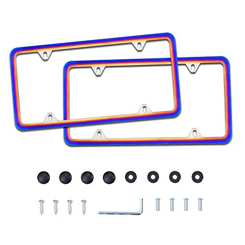 LivTee 4 Holes Stainless Steel License Plate Frames, 2 PCS Car Licence Plate Covers Slim Design with Bolts Washer Caps for US Vehicles, Multi