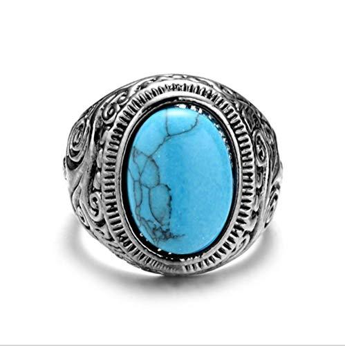 Gem ring antieke mode-sieraden retro turquoise imitatie titanium stalen herenring geschikt voor geschenken voor vriendje,No.14